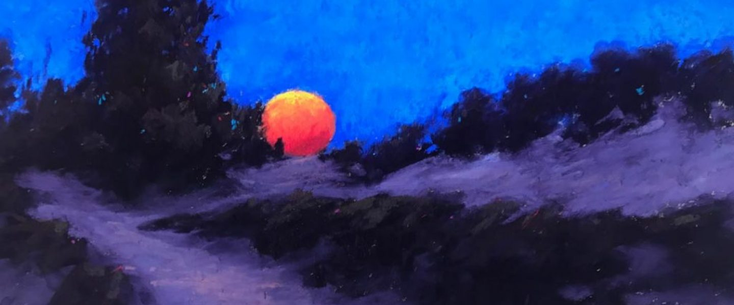 Super Moon & the Dune 9x12 (SOLD)